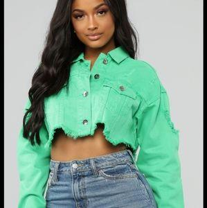 Fashion Nova Envy Me Jacket Green XS NEW! Crop